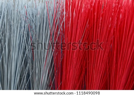Red gray texture of long bristles on the brush #1118490098
