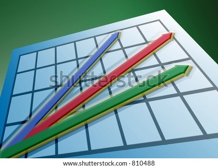 Red, green and blue arrows on graph - stock photo