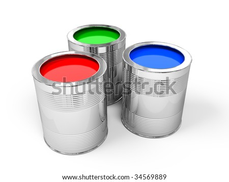 Red, Green and Blue Paint Cans