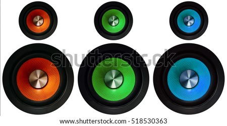 red, green and blue Speakers on a white background #518530363