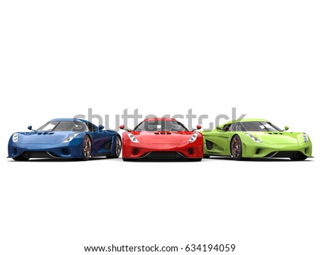 Red, green and blue supercars side by side - 3D Illustration #634194059