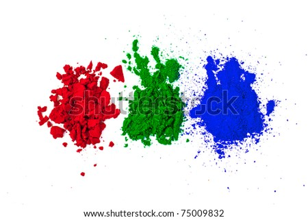 Red, Green and Blue (the three primary colors) dye powder isolated on white.