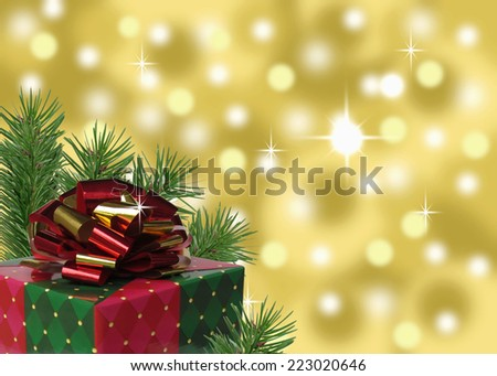 red green and gold present with pine branches and bokeh background