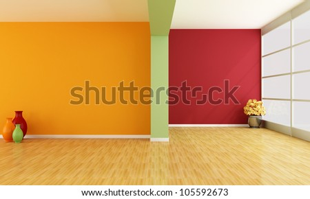 red green and orange minimalist empty interior - rendering - stock photo
