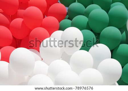 red, green and white balloons - colors of Italy