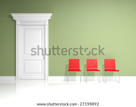 Red green and white interior design with minimal elements - Red and green interior design ...
