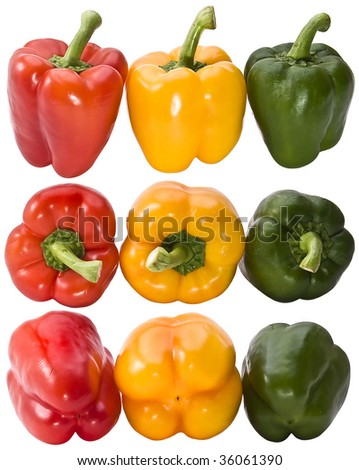 red green and yellow pepper vegetables set isolated on the white background