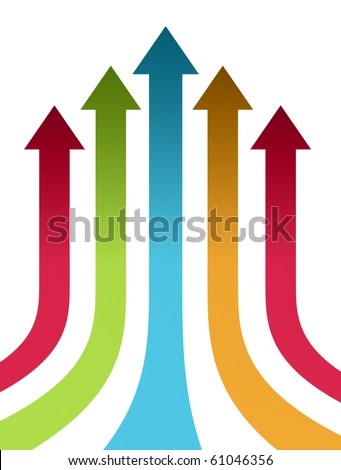 Red, green, blue and orange up arrows over white background - stock photo