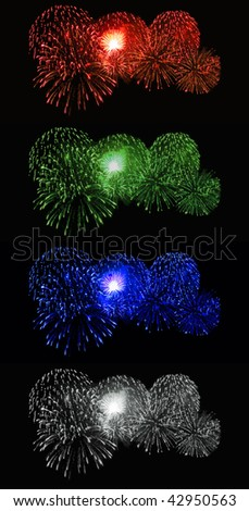 Red Green Blue and White Fireworks - stock photo