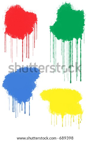 Red, Green, Blue and Yellow Paint Splats