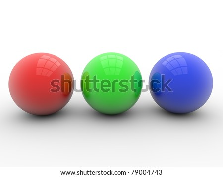 red green blue balls - stock photo