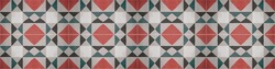 Red green gray traditional motif tiles texture background banner panorama - Vintage retro cement tile with triangular square rhombus diamond pattern