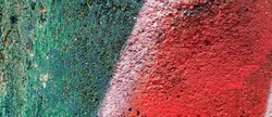 Red green on cement wall, various colors, vintage color background