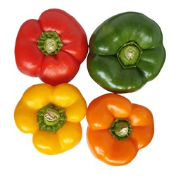 Red, green, yellow and orange full capsicums from top