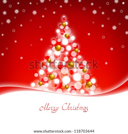 Red greeting card with Christmas tree