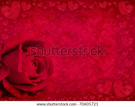 Red greeting card with rose bud and hearts