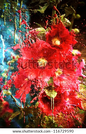 Red grunge flowers with dripping paint scratched and aged to the max