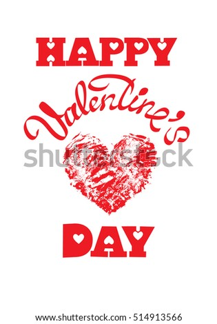 Red grunge heart with calligraphic text Happy Valentine`s Day, isolated on white background. Holiday card. Raster version