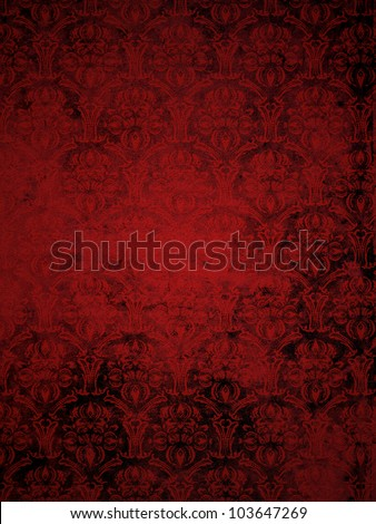 red grunge seamless ornamental wallpaper, floral pattern