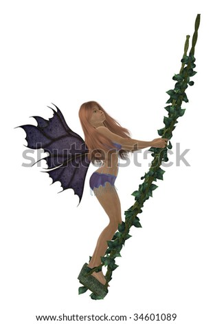 Red hair fairy swinging on a swing