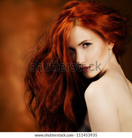 Red Hair. Fashion Girl Portrait - stock photo