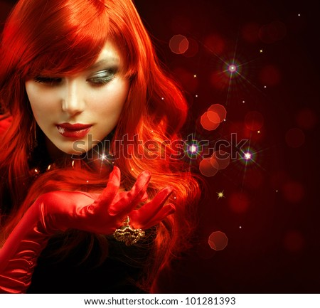 Red Hair. Fashion Girl Portrait . Magic