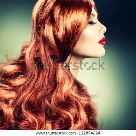 Red Hair.Fashion Red Haired Girl Portrait.Hair Extension