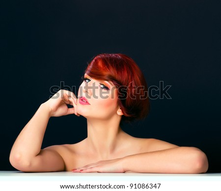 red hair woman glamour portrait isolated on black background, studio shot, beauty young girl woman model