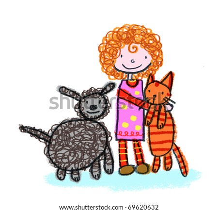 Red-Haired Girl, Cat and Dog-- Child-like illustration