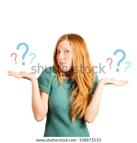 "red-haired girl facing a choice isolated on a white, holding a questions marks on her hands. posing ""don't know"""