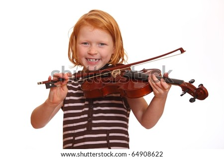 Red haired girl plays her violin