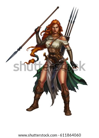 Stock Photo Red-haired girl warrior with a spear. Girl viking sexy realistic fantasy illustration.