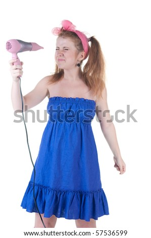 red-haired girl with the hair dryer. Isolated over white .