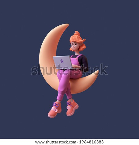 Red-haired happy cute romantic writer girl in glasses, purple t-shirt, pink pants works on a laptop and sits on the golden crescent moon late at night in spacе. 3d render in stylized minimal art style