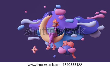Red-haired happy writer girl in glasses, pink pants works on a laptop and sits on the moon late at night in space with floating blue purple clouds, stars, a cat, an owl. 3d render in minimal art style