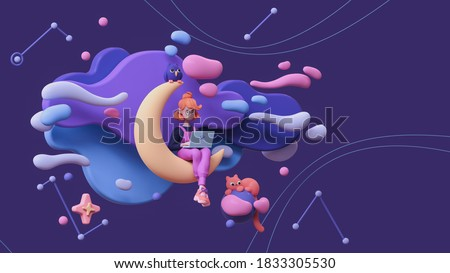 Red-haired writer girl in glasses, pink pants works on a laptop and sits on the moon late at night in space with floating blue purple clouds, stars, a cat, an owl. 3d illustration in minimal art style