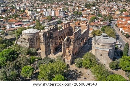 Red Hall Basilica in Bergama. Ruins of a Roman-era temple Stok fotoğraf ©
