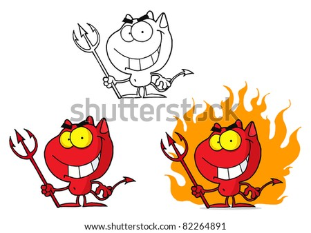 Red Halloween Devil.Raster Collection.Vector version is also available