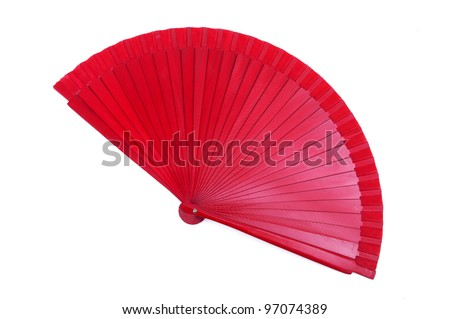 red hand fan isolated on white