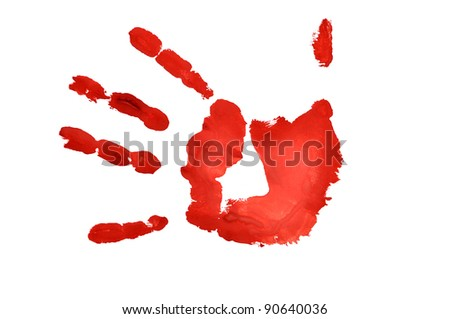 red  hand imprint over white background