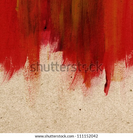 Red hand-painted brush stroke daub background over old vintage paper - stock photo
