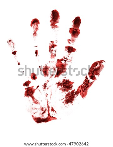 red hand print on a white