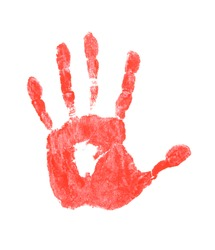 Red hand print on white background
