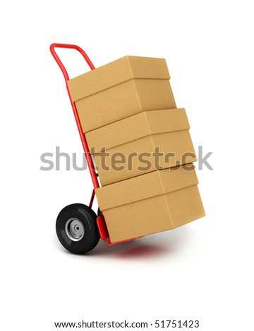 Red hand truck with three cardboard boxes on it ready for delivery