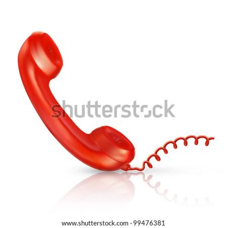Red Handset, bitmap copy - stock photo