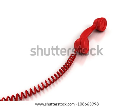 Red Handset with spiral wire on white background