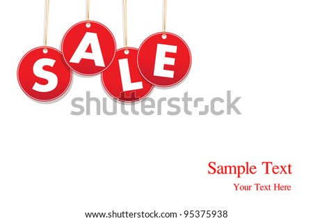 Red hanging sale labels.