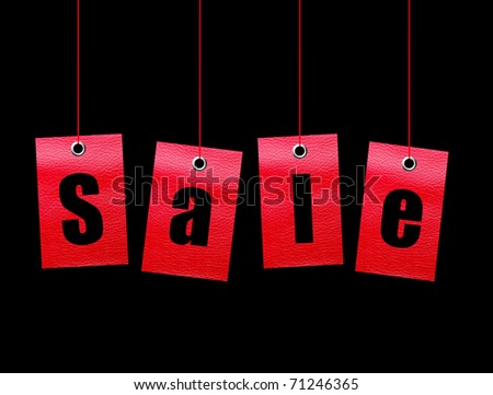 Red hanging sale labels over black background. Illustration