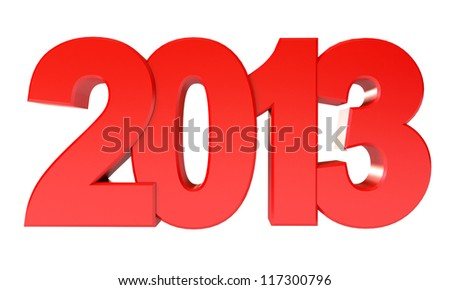 Red Happy New Year 2013. Isolated on white background. 3d render