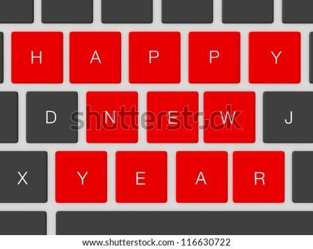 Red happy new year keys between dark keys.